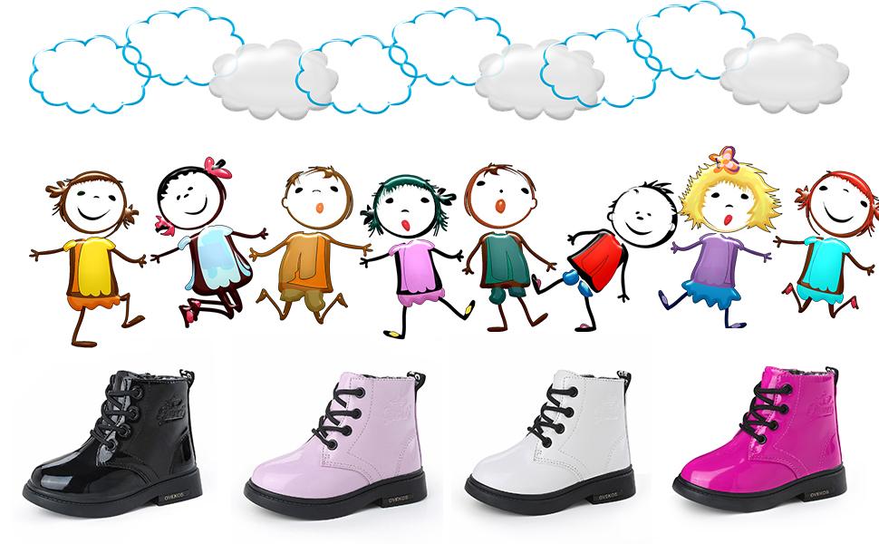 ANBIWANGLUO Bottes Fille Imperm/éable Cuir Bottines Enfants Hiver Chaussure B/éb/é Fille