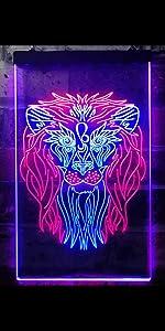 ADVPRO line-art LED neon sign light artwork man cave home decor-ation lion wildlife king animal