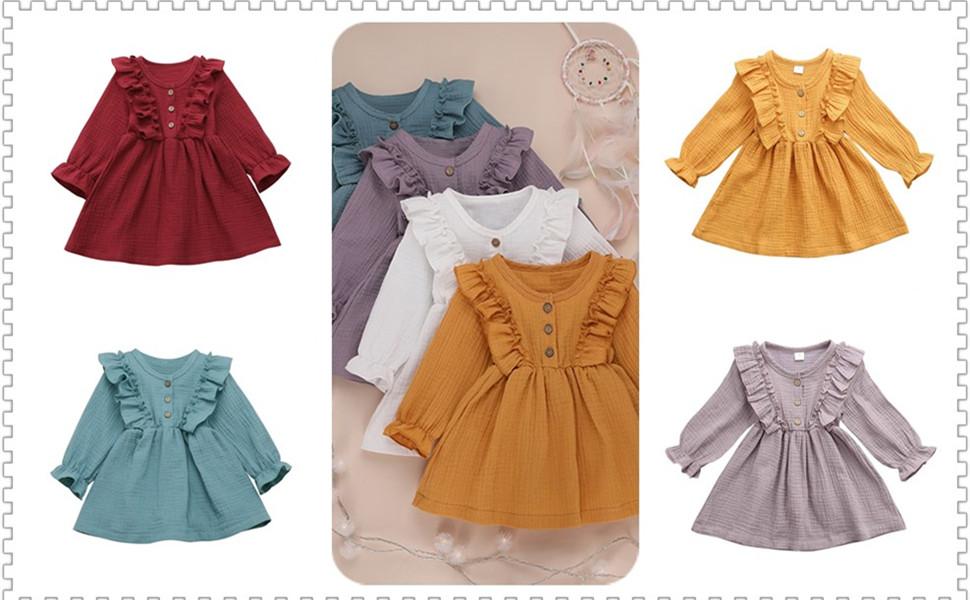 Long Sleeve Ruffle Cotton Dress For Girls