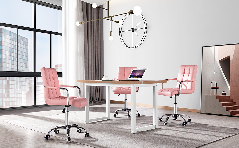 yaheetech image - YAHEETECH Desk Chairs With Wheels/Armrests Modern PU Leather Office Chair Height Adjustable Home Computer Executive Chair On Wheels 360° Swivel - Pink