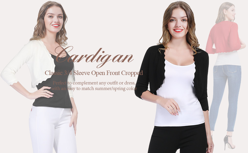 KANCY KOLE Womens Open Front Knit Shrugs Cardigan Sweater 3//4 Sleeve Cropped Bolero