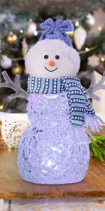 クリスマス飾りライト スノーマン 置物 雪だるま サンタクロース 七色 カード付き プレゼント 女性 こども ギフト 最適 イルミネーションライト インテリア 室内 雰囲気作り 超可愛い おしゃれ