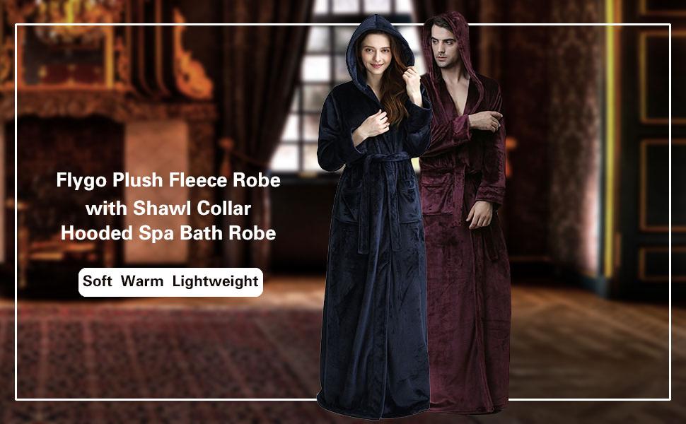 Womens Luxurious Flannel Fleece Full Length Bathrobe Winter Warm Pajamas Shower Nightgown