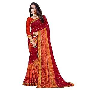 Sanskar Resham Ki Dor Bandhani Printed Georgette Saree (Red)