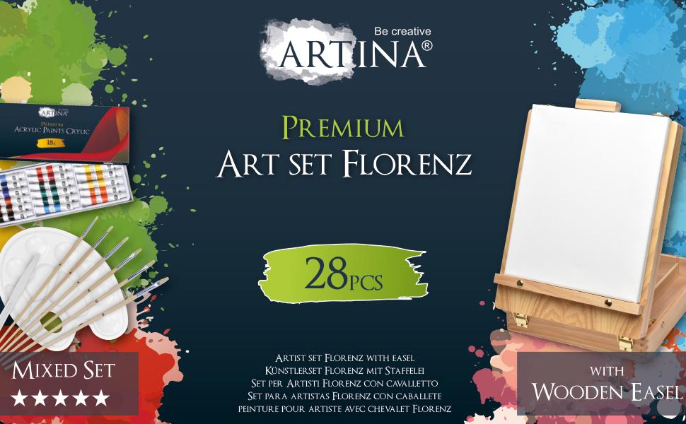Set de pintura caballete maletín lienzos colores pinceles