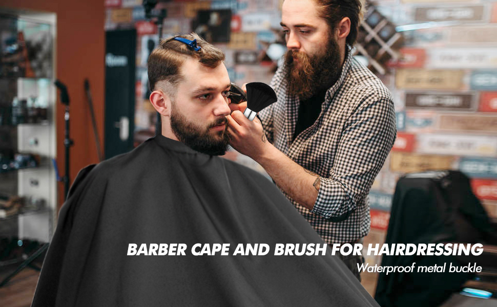 Barber Cape and Duster Brush Set