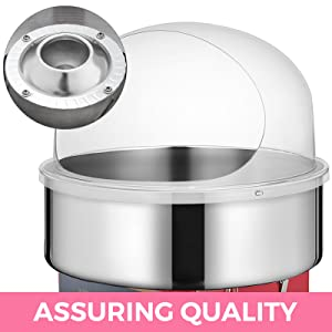 VBENLEM Electric Candy Floss Maker With Bubble Cover Shield 20.5 Inch Cotton Candy Machine Bule 1030W for Various Parties