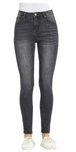 Women's Mid Rise Skinny Jeans Stretch Comfort Mid Waist Denim Jean Ankle Length