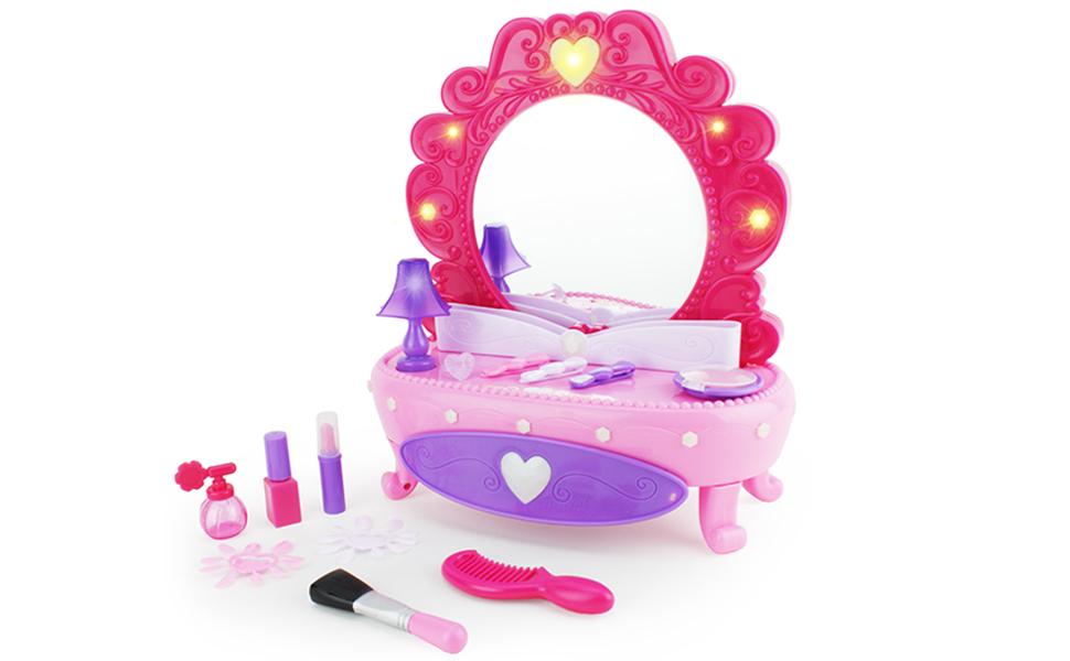 pink vanity mirror with plastic pretend makeup