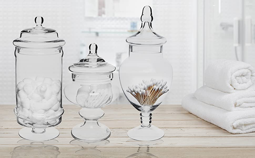 set of 3 glass vases with lids