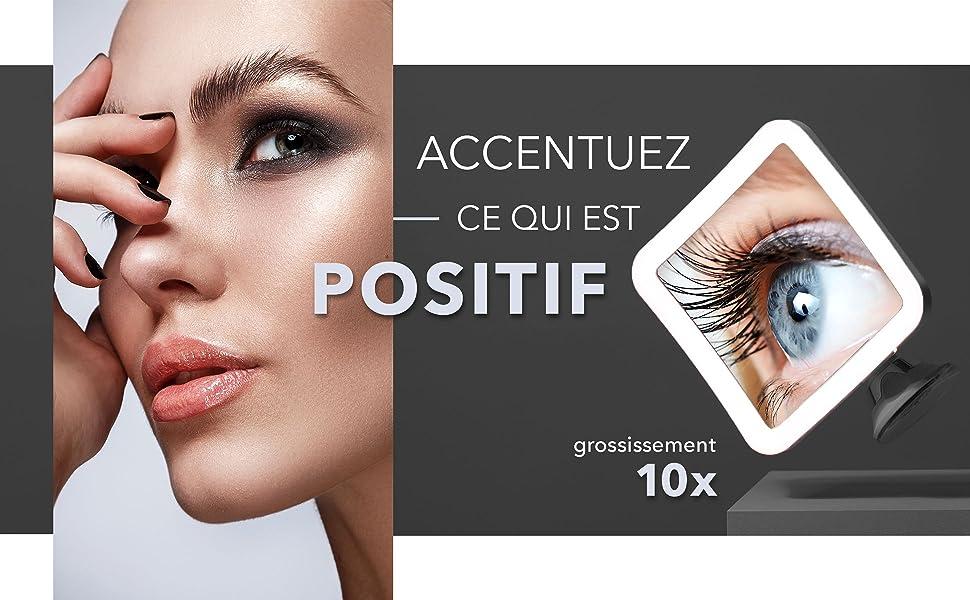 Fancii Miroir de Maquillage Lumineux Grossissant 10x