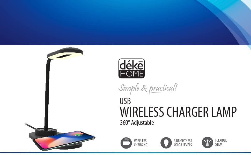 Brightness Level Dimmable LED Desk Lamp with Wireless Charger, Eye-Caring Table Lamps,  Table Lights