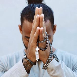 Modern om gifts shugite meditation yoga mala prayer beads pyramids water healthy authentic organic