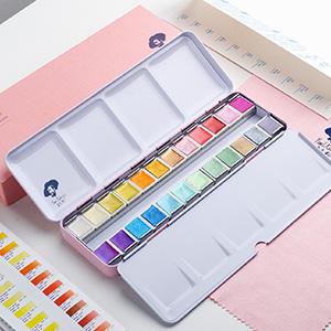 Paul Rubens Artista Pinturas de Acuarela-Brillo Colores Sólidos-Rosa Estuche de Metal Portátil con Paleta-24 Colores: Amazon.es: Hogar