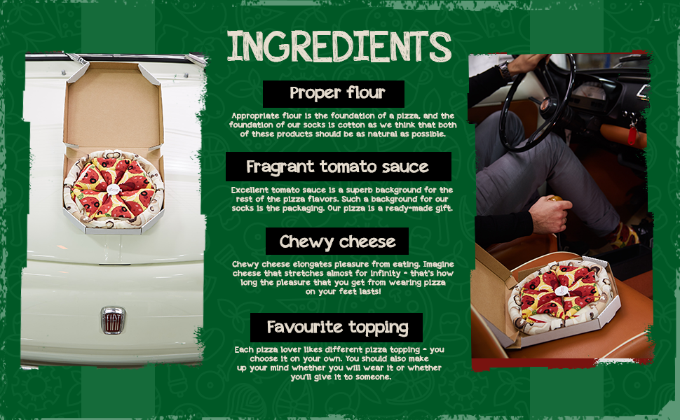 Ingredients. Proper flour, fragnant tomato sauce, chewy cheese, favourite topping