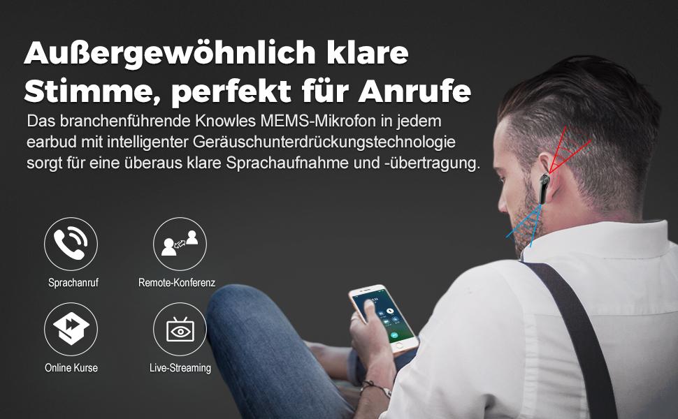 Bluetooth-kopfhörer für klare Freisprechanrufe