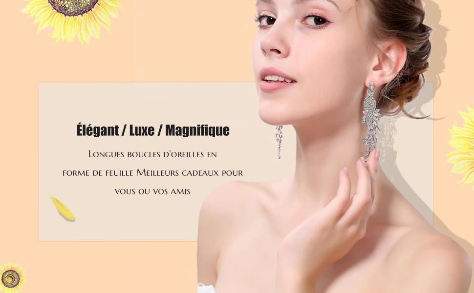 Mecresh Dor/é longues feuilles Boucles doreilles en cristal pour femme Demoiselle dhonneur Mariage Cadeau Bijoux