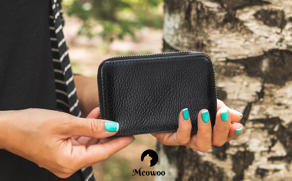 Meowoo RFID Porta Carte Credito Portafoglio Donne Uomo Pelle Cerniera 12 Card slot e 2 Compartimenti Nero)