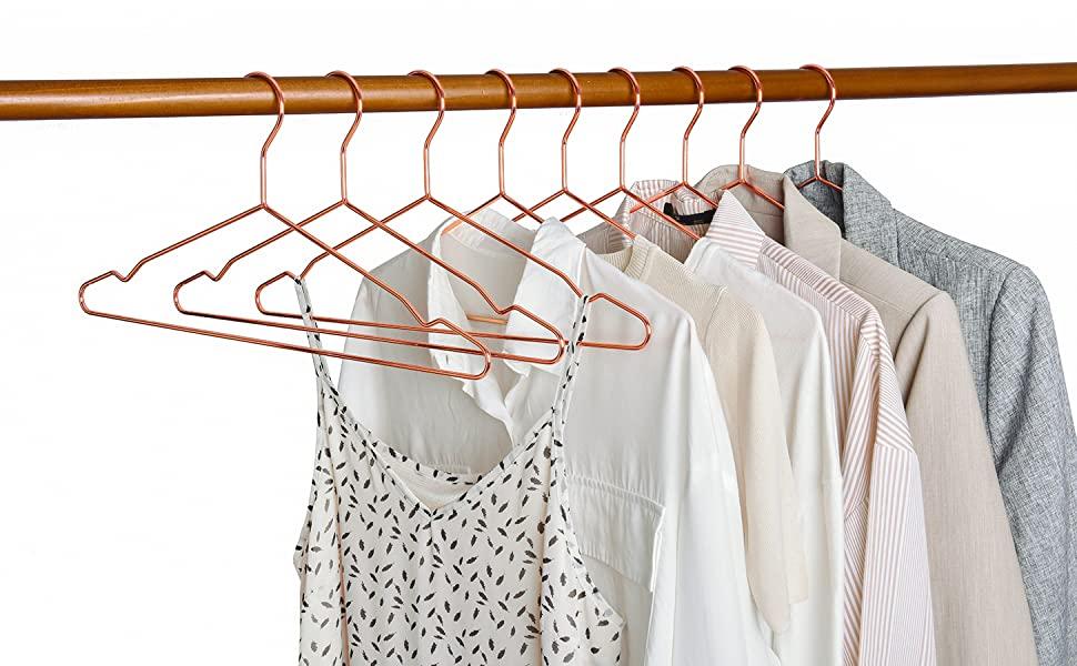 Amber Home 10 Unidades 43cm Perchas de Hierro Cobre Rojo, Oro Rosa Metálico Percha para Trajes Camisetas Camisas Chaquetas Vestidos Faldas Pantalones, ...