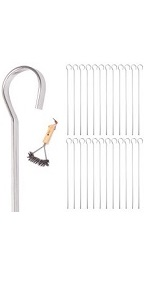 Metal Shish Kabob Skewers for Grilling – 24 Pack - Complete with Wire Grill Brush