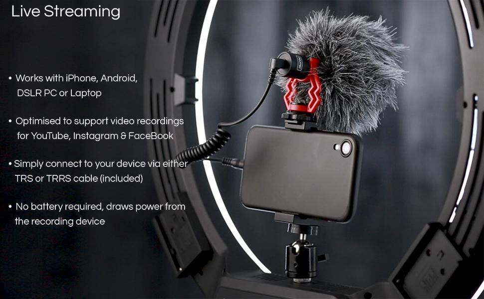 Compact On Camera Shotgun Video Microphone YouTube Vlogging Facebook Livestream Recording Mic