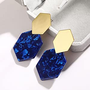 Blue acrylic earrings