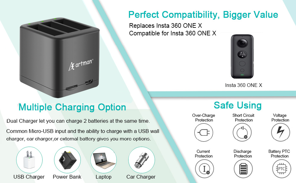 insta360 one x camera battery charger