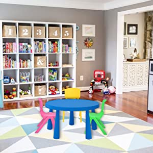 Playroom chairs table learning colorful fun