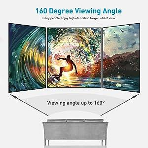 Projektor screen-160° kąt widzenia