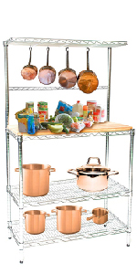 Chrome Bakers Rack with Butcher Block