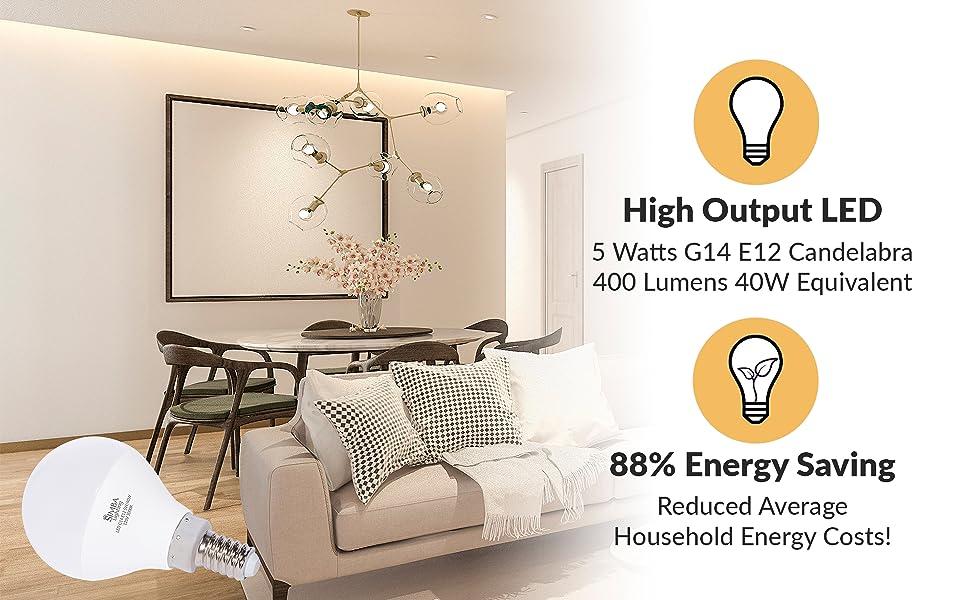 Lighting led g14 a15 e12 candelabra screw base 5watt 40w replacement 110v 120v 130v 400 lumens