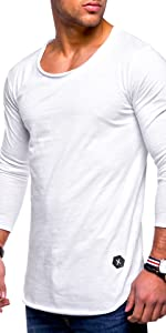 薄手 ラウンド ネック ロンT カジュアル Tシャツ 長袖 カットソー スリム フィット メンズ