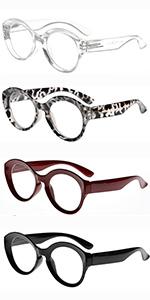 4 Packing Round Reading Glasses Women Large Frame Stylish Readers