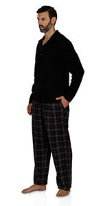 intimo mens long sleeve pajama plaid sleeper pants sleepwear loungewear night wear sweater christmas