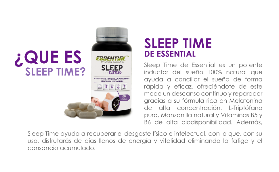 SLEEP TIME - Melatonina + Triptófano + Manzanilla + Vitamina B5 y ...