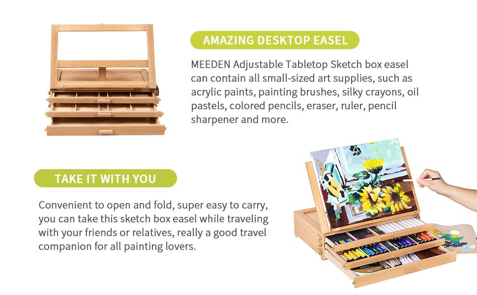 tabletop sketch box sketch box sketch easel Portable Wooden Artist Desktop Storage Case Desktop