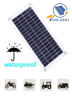 TISHI HERY 18V 12V 12W Solar Battery Charger and Maintainer 12W Portable Flexible Solar Panel Trickle Charger with USB, Cigarette Lighter Plug, ...