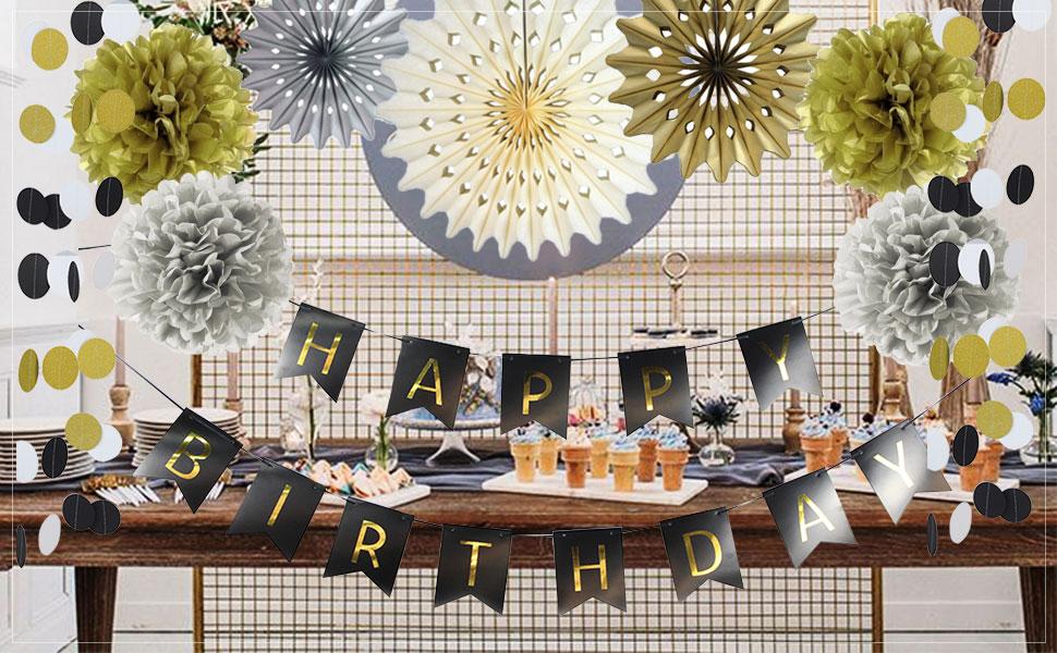 SUNBEAUTY Decoration Anniversaire Noir Or Kit 30 40 50 Ans Femme Homme Happy Birthday Deco
