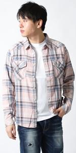(リアルコンテンツ)REAL CONTENTS チェック シャツ メンズ 長袖 ゆったり 大きいサイズ インディゴ染 カジュアルシャツ 22-h734-rc