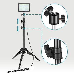 LED Video Light with adjustable tripod stand