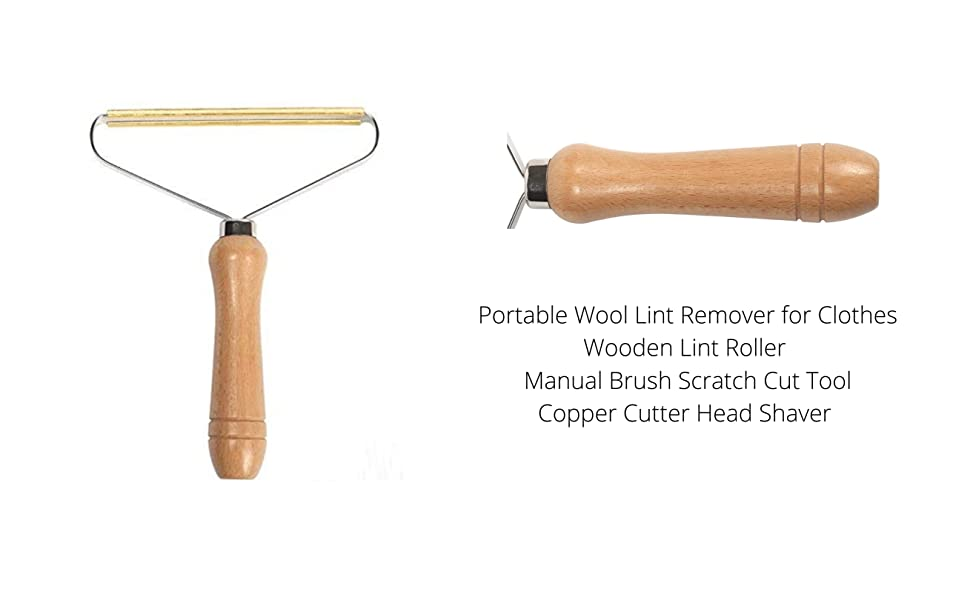 Portable Wool Lint Remover for Clothes,Wooden Lint Roller r Manual Brush Scratch Cut Tool