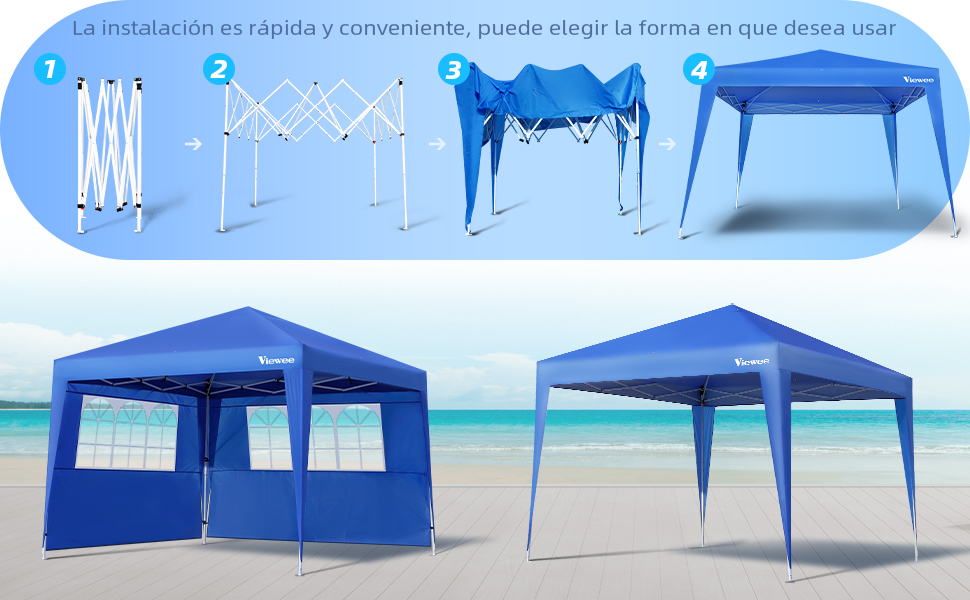 Viewee Carpa Plegable 3x3 Impermeable, Cenador Plegable, 3 Regulables en Altura, 2 Paredes Laterales con Ventanas, Protector Solar UV50 +, Utilizado para Jardín, Playa, Fiesta, etc: Amazon.es: Jardín