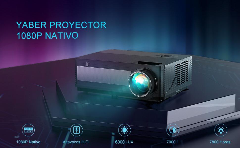 Proyector, YABER 6000 Lúmenes Proyector Full HD 1920x1080P Nativo Soporta Vídeo 4K,Zoom X/Y,78000 Horas LED Proyector Cine en Casa 300