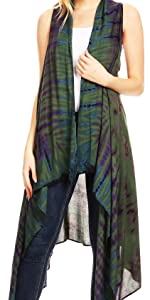 cardigan open front vest top cardigan sleeveless tie-dye high-low woman casual boho print color nice
