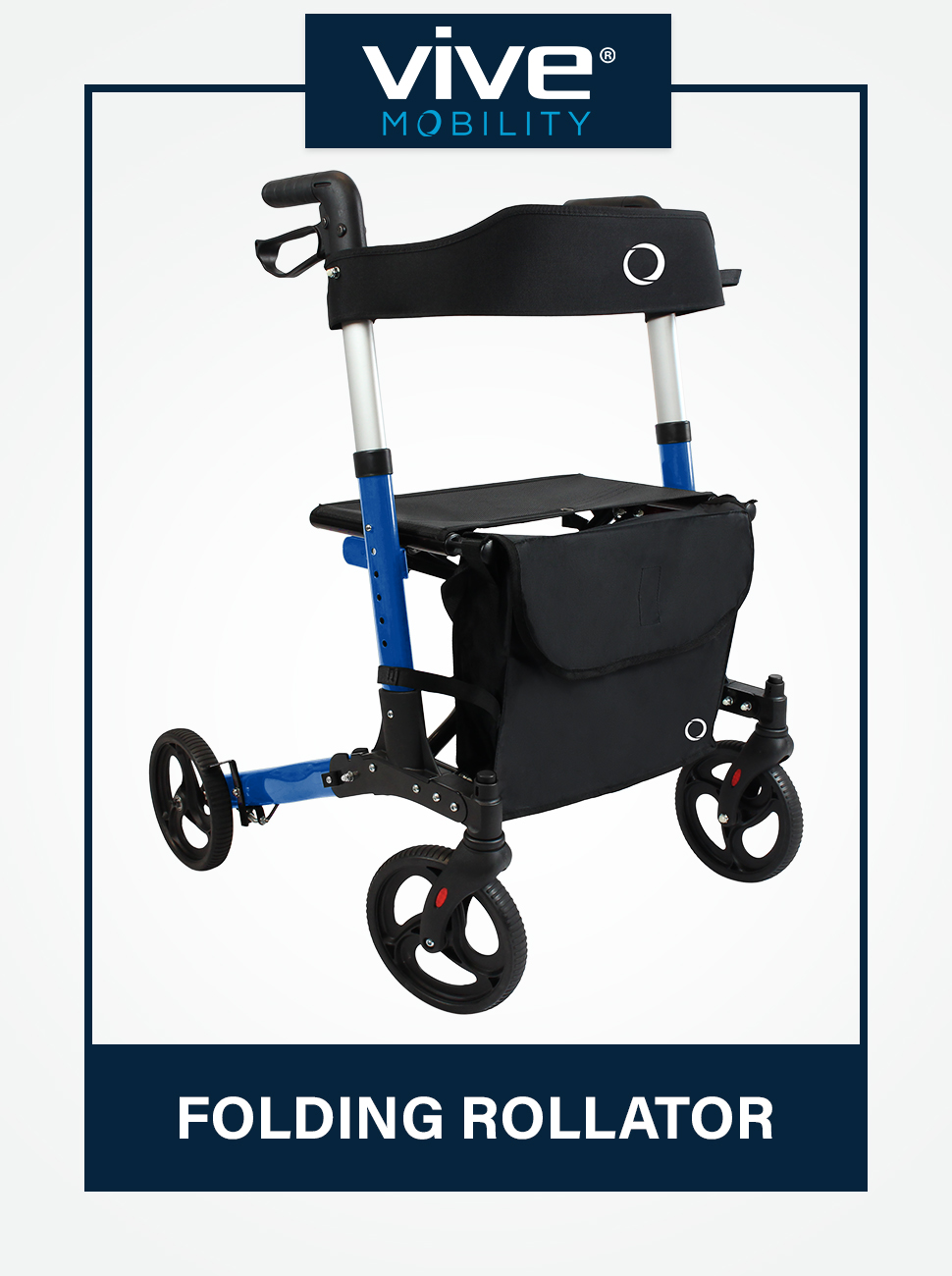 Vive Mobility Folding Rollator Walker 4 Wheel Medical Rolling Walker with Seat & Bag - Mobility Aid