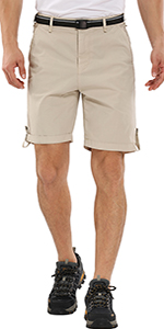 Men's Classic Relaxed Fit Stretch Cargo Shorts Comfort Flat Front Hiking Shorts,Khaki Shorts