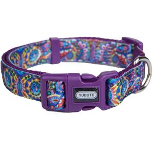 purple flroal dog collar