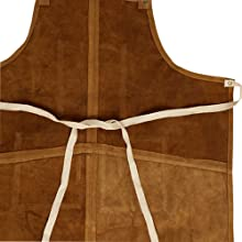 One Size Fits Utility Apron Adjustable Cross-Back Straps strong durable stitching Leather