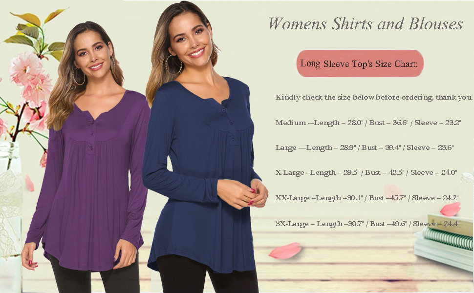 NSQTBA Womens Casual Long Sleeve Henley Loose Fit Pleated Tunic Shirt Blouse Tops S-2XL