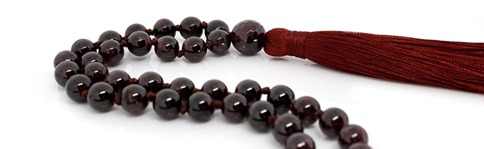 Garnet Mala Beads Necklace